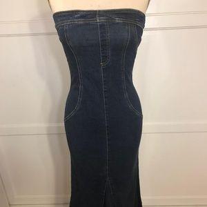 Denim Bodycon Strapless Maxi Dress VINTAGE 90s